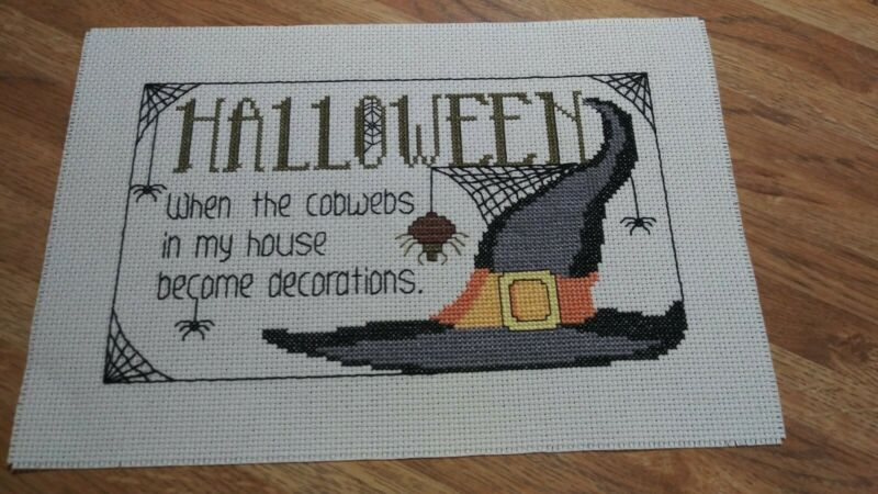"Completed Cross Stitch "" Halloween Cobwebs """