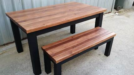 Custom rustic wooden dining table and matching benches Lonsdale Morphett Vale Area Preview
