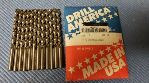 Drill America, HS Letter F Fast Spiral Drills, (LOT OF 12)
