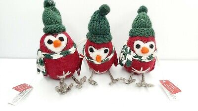 3 LITTLE ROBINS BIRD CHRISTMAS TREE DECORATIONS NEW RED GREEN MARKS AND SPENCER ()