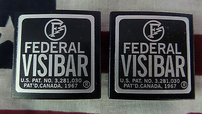 New Pair Federal Visibar Twin Beacon Ray Aluminum End Caps With Foil Labels