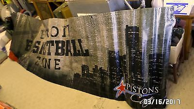 1857MM HUGE 12'x3' Detroit Pistons Detroit Basketball Zone Vinyl Banner CLEAN VG