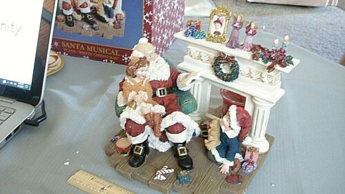 """Santa Fireplace Musical Figure Decoration Plays """"White Christmas"""" Candle Holder"""