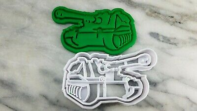 Army Tank Cookie Cutter 2-Piece, Outline & Stamp #1 Welcome Home America Soldier