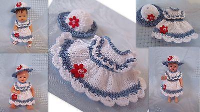 Kleidchen mit Hut  für Püppchen 6-7 cm