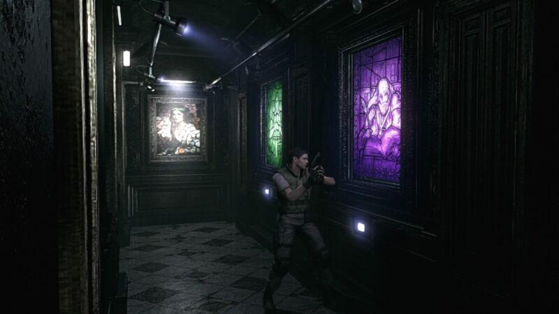 Die Rätsel in Resident Evil sind nicht einfach, hier müssen wir die Gemälde in der richten Farbe anstrahlen.