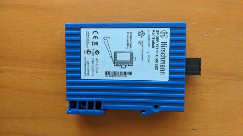 Hirschmann SPIDER 1TX/1FX SM EEC, DIN Rail Mountable, 6-32 VDC, Single Mode SC