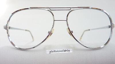 Metallgestell Männer robuste Brille silber Doppelsteg Vintage Pilotform Gr. M