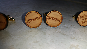 Rustic wooden engraved wedding cufflinks - 5 sets Bayswater Bayswater Area Preview