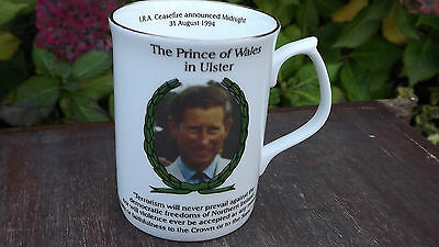 1994 Prince of Wales Royal Visit to Ulster China mug Only 75 made IRA Ceasefire