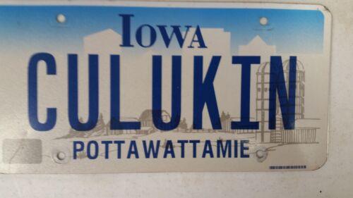 EXPIRED IOWA POTTAWATTAMIE County License Plate CULKIN