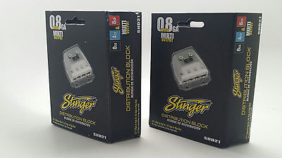 2 x Stinger 4 Gang 0/4/8 Gauge Power / Ground Amp Wire Distribution Blocks SHD21