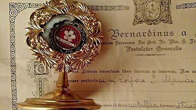 Reliquary Relic St Maria Goretti COA Vatican Document Virgin Marytr