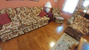 sofa, swivel rocker and arm chair with foot stool London Ontario image 1