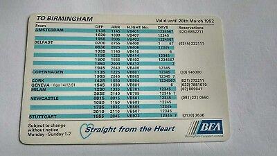Birmingham European Airways Flight Schedule Timetable Mar 1992