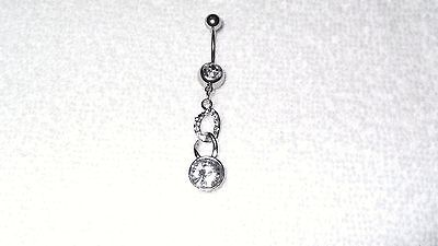Clear Crystal Chain Link Dangle Belly Button Navel Ring Body Jewelry -