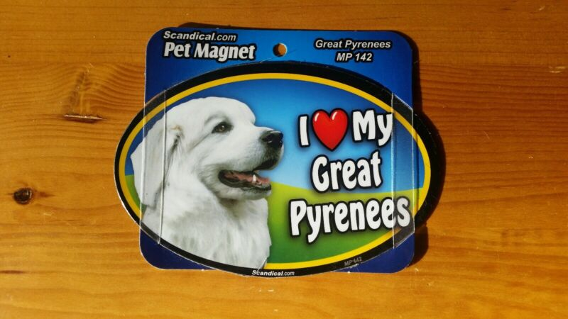 "Scandical I Love My Dog Laminated Car Pet Magnet 4"" x 6"" Great Pyrenees"