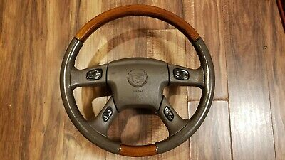 2003-2006 Cadillac Escalade Steering Wheel Wood Grain Leather Radio Controls