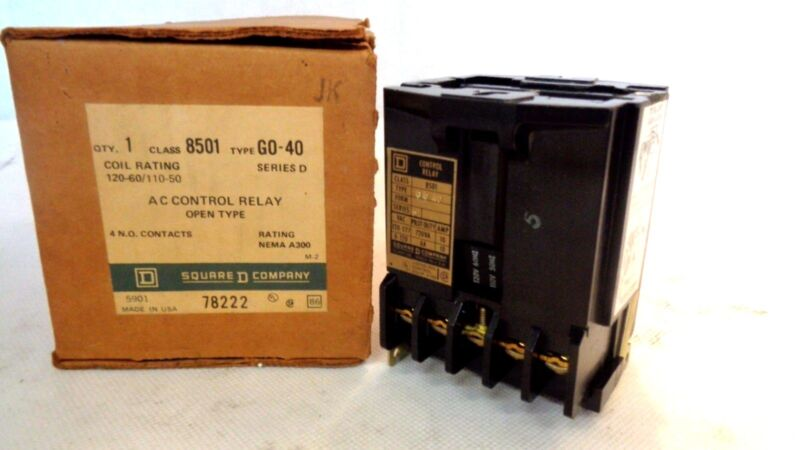 NEW IN BOX SQUARE D 8501-GO40 AC CONTROL RELAY 120V COIL 4 N.O.