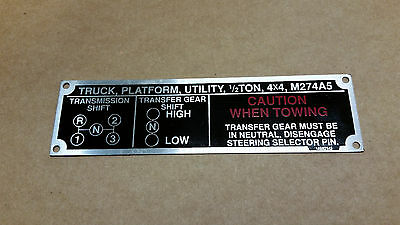 MILITARY LMTV FMTV TRUCK FORDING FAN INSTRUCTION DATA TAG PLATE M1078 M1088 NEW