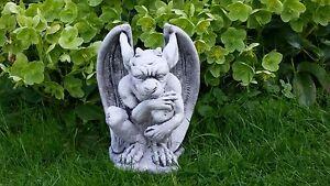 Gargoyle, Troll,Steinfigur mit 29cm Höhe, 6,4kg Steinguss Frostfest Gnom Stein