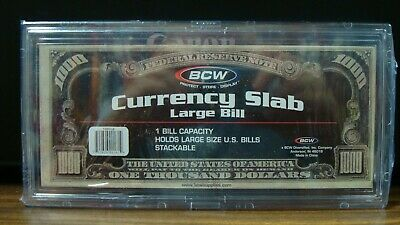 BCW DELUXE CURRENCY SLAB DOLLAR BILL CASE LARGE SIZE HOLDER OLDER BANK NOTE
