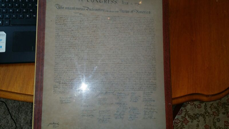 The Unanimous Declaration of the Thirteen United States of America - Mounted