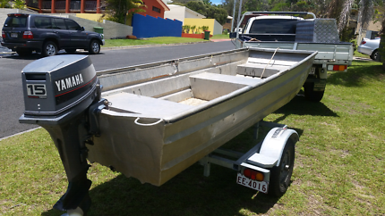 Crabbing Tinny plus 15hp Yamaha outboard. New Stesco trailer.