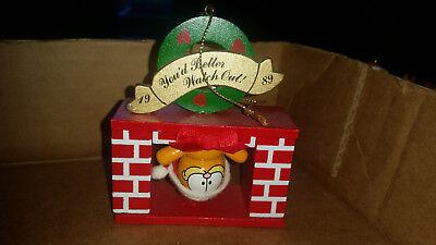 Garfield Dakin Wood Christmas Ornament You'd Better Watch Out 1989 Fireplace
