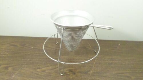 Cone Shape Vintage Aluminum Strainer Colander with Stand