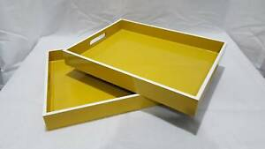 MOVING SALE | Mustard Yellow West Elm Lacquered Tray Tables