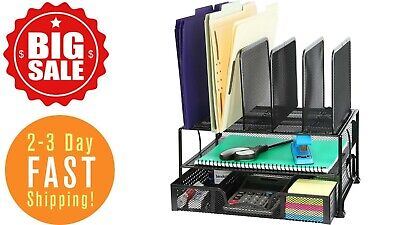 Mesh Desk Organizer With Sliding Drawer Double Tray And5 Upright Sectionsblack