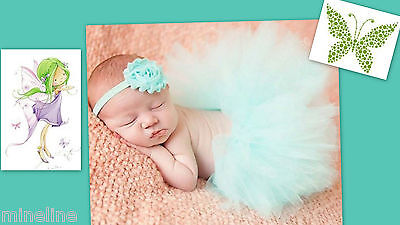 ★★NEU Baby Fotoshooting Kostüm Tütü mint & Haarband Elfe Ballerina 0-6.Monate★★L