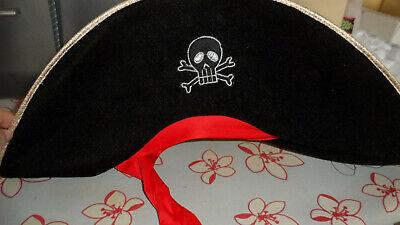 Piratenhut, schwarz, faltbar,mit rotem Band zum Binden, neu, - Piraten Hut Kostüme