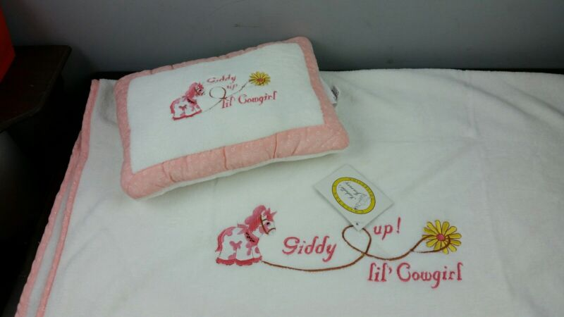 New Giddy Up Lil Cowgirl Baby Toddler Western Pillow & Blanket Set with Tags