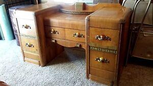 Vintage 1940 S Art Deco Waterfall Bedroom Set Vanity Dresser Bench Table Mirror