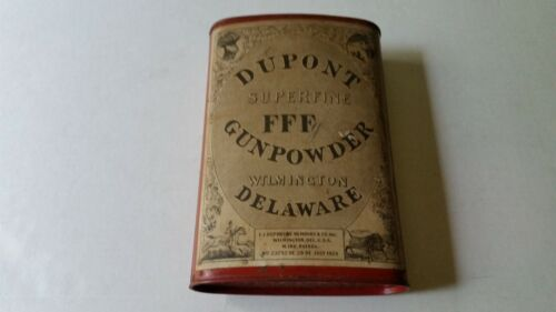 Dupont Superfine FFF Gunpowder Old Can Tin Black Powder Indian Delaware 1924