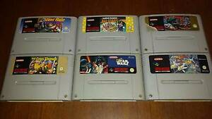 Super Nintendo games. 6 SNES games, Star Wars, Street Fighter 2. Holland Park Brisbane South West Preview