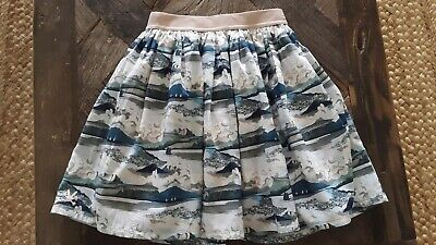 No Added Sugar Boutique Landscape Blue Sailboat Lined Skirt- Girls sz 9-10 years