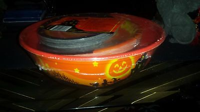 Halloween Party Bowl w/ Plates , Napkins, Table Cloth & Large Platter New (Halloween Cloth Napkins)