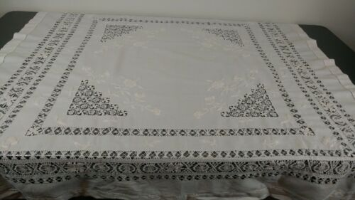 Antique Embroidered Linen Drawn Thread Handmade Teneriffe Tablecloth 45x45