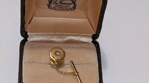 VINTAGE 14K YELLOW GOLD DIAMOND TIE TACK LAPEL PIN SIGNED HALLMARKED