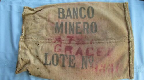 Antique Heavy Burlap Ore Bag-Miners Bank From Bolivia-Banco Minero-South America