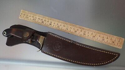 Vtg OLSEN OK H.C.,MI. Fixed Blade Skinner Hunting Knife w/ Factory Sheath #505