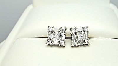 10k. white gold, princess/round/baguette diamond, post earrings. 1/2cttw.