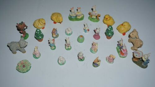 (27pc Lot) Sweet Bunny Family & Other Rabbits Miniature Vintage Easter Figures