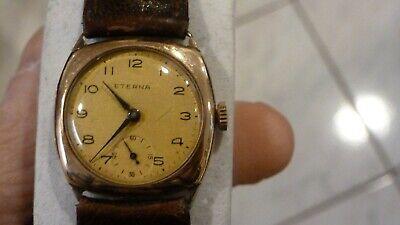 VINTAGE 1930S ETERNA 9CT 375 ROSE GOLD 16 JEWEL WRIST WATCH EXCELLENT RUNNING