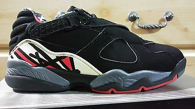 NIKE AIR JORDAN 8 RETRO LOW MENS SZ 8.5 BLACK/TRUE RED-DEL SOL NWB ALL SUEDE