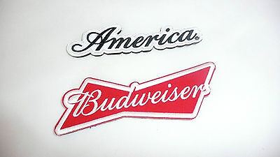 Set of 2 Budweiser 5 1/2 in. and America 5 in. Embroidered Patch/Patches >NEW<