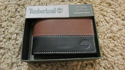 TIMBERLAND Men Genuine Leather Passcase Bifold WALLET New Two Tone Brown Black